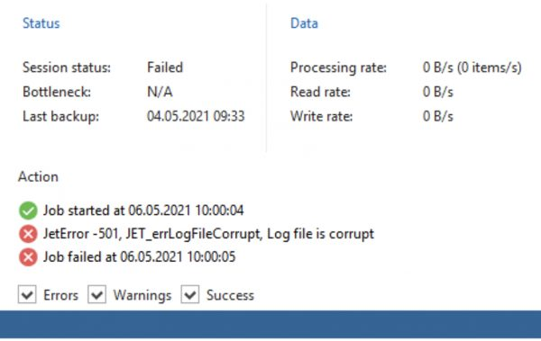 Veeam Backup for Microsoft Office 365 – JetError -501, JET_errLogFileCorrupt, Log file is corrupt