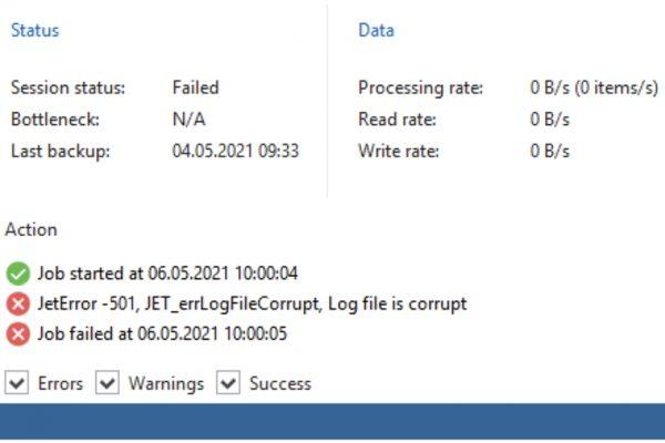 Veeam Backup for Microsoft Office 365 – JetError -501, JET_errLogFileCorrupt, Log file is corrupt